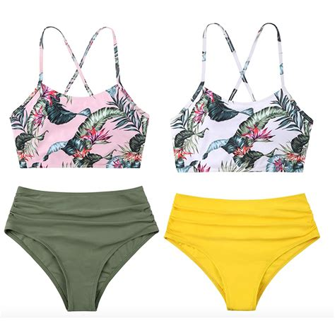 womens high waist  piece bikini swimsuit