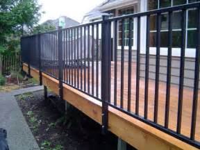 Wood And Wrought Iron Bench Deck Railing Systems Easyrailings Aluminum Railings