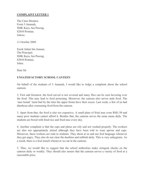 Letter For School Canteen Business Complaint Letter 1