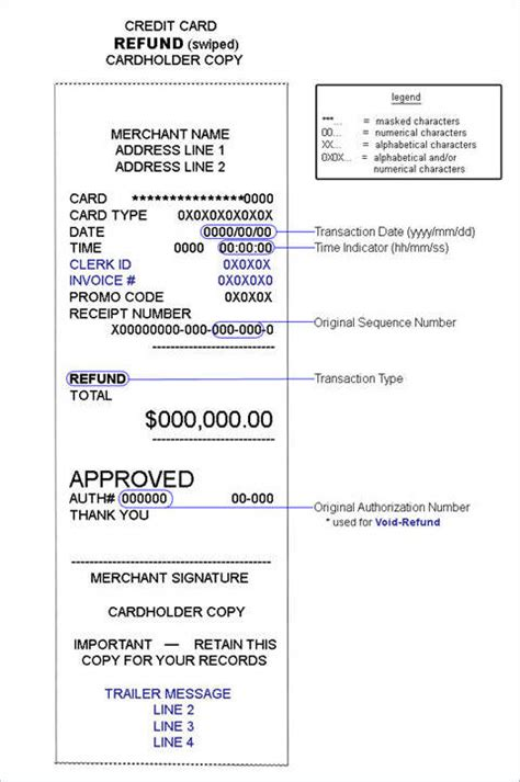 credit card refund form template 6 refund receipt sles templates sle templates
