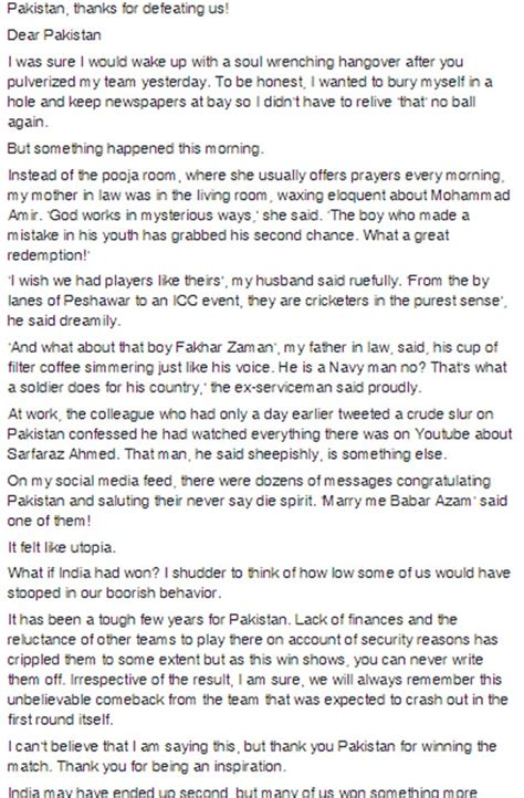 thank you letter to team captain this indian s warming message to pakistan cricket