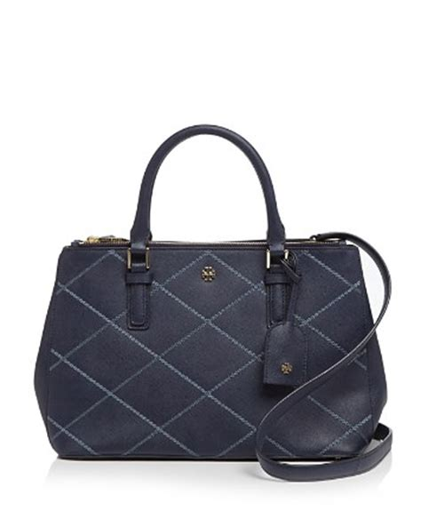 Burch Robinson Stitched Mini Dome Satchel Navy Import Quality burch tote robinson stitched mini zip