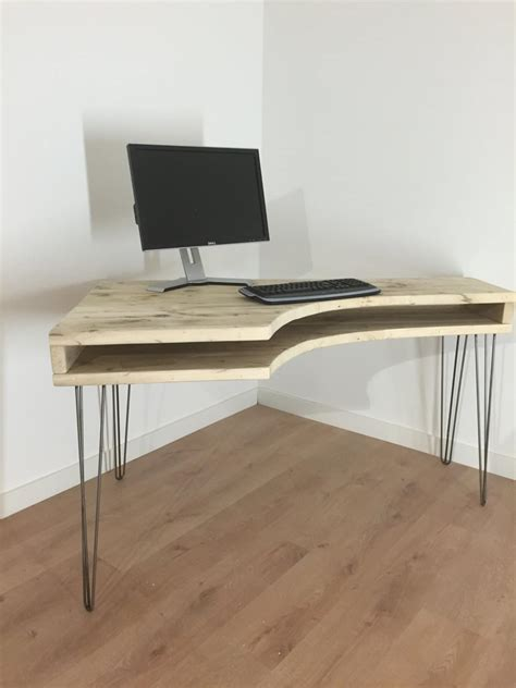 Reclaimed Wood Vanity Table Reclaimed Solid Pine Curved Box Desk With Metal Hairpin Legs Newcointeriors Bespoke Joinery