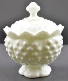 fenton art glass hobnail milk glass pattern scalloped sugar with lid