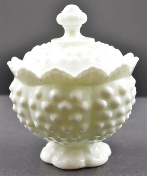 fenton art glass hobnail milk glass pattern scalloped sugar with lid