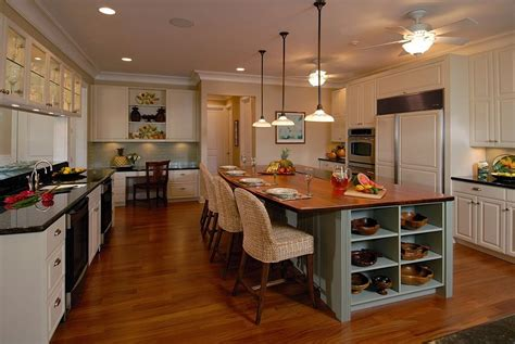 open shelving for the kitchen island gives it