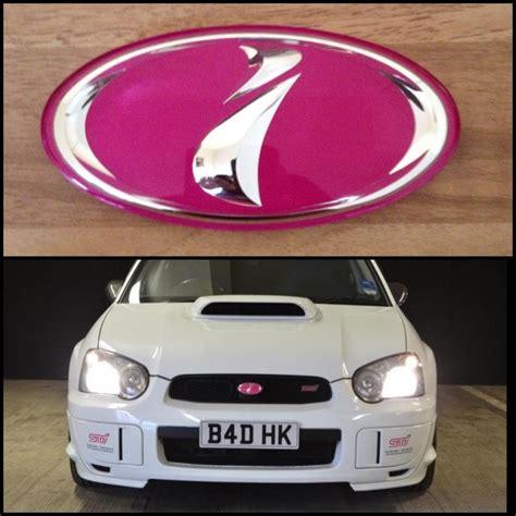 pink subaru emblem genuine jdm pink sti blob eye grille badge scoobynet