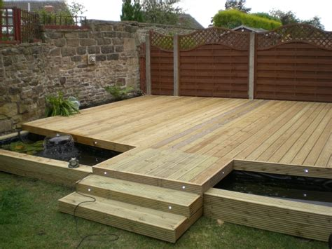 decking with pond underneath in dronfield for full set of pictures go to www rb building com