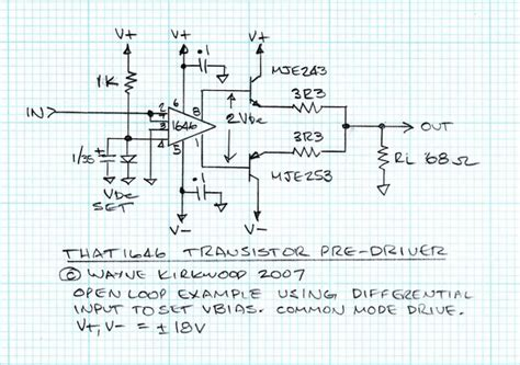 transistor predriver using the that1646 as a transistor pre driver headphone pro audio design forum