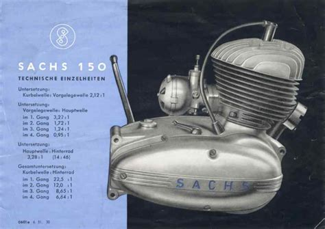 Sachs Motor 125 Ccm by Sachs Nachkriegsmotoren Bis 175 Ccm Hubraum
