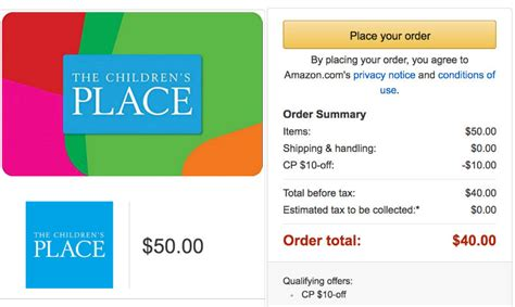 Children S Place Gift Card - email yourself a 50 children s place gift card for only 40 jungle deals blog