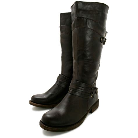 brown leather biker boots buy hanna flat knee high biker boots brown leather style