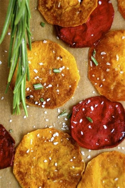 root vegetable chips recipe baked root vegetable chips with garlic rosemary salt