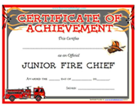 free printable junior fire chief award certificates