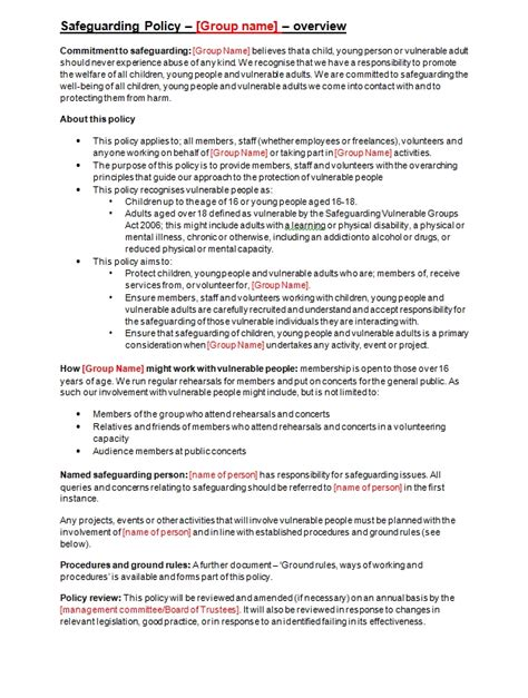 child protection policy template for community groups safeguarding policy template