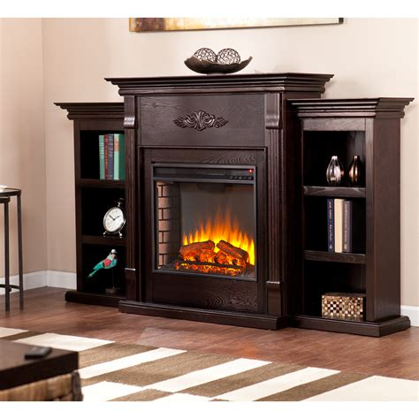 electric fireplace bookcase tennyson electric fireplace w bookcases classic espresso