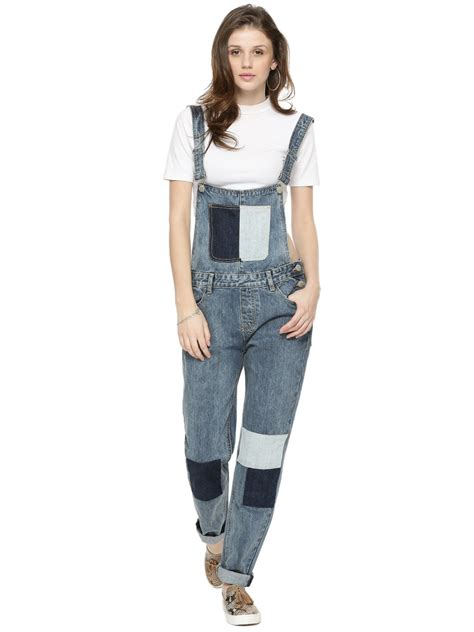 Patchwork Dungarees - buy glamorous patchwork denim dungarees for