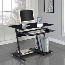 Small Black Computer Desk Uk Computer Desk Pc Table Black White Glass Home Office
