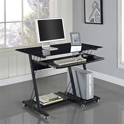 computer desk pc table black white glass home office
