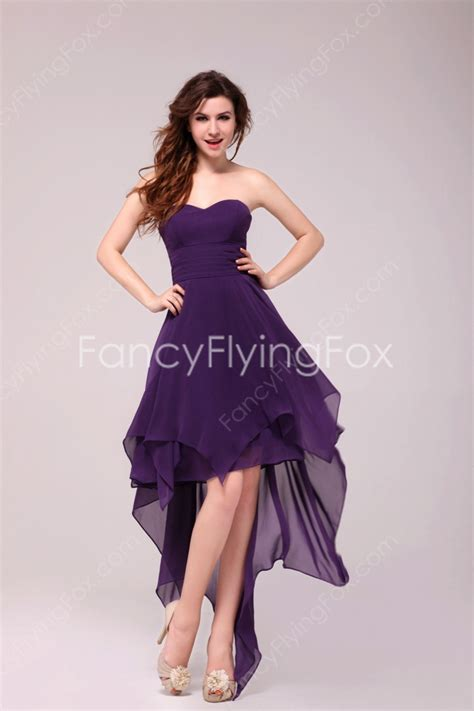 Simple Purple Strapless Chiffon High Low Cocktail Dresses at fancyflyingfox.com