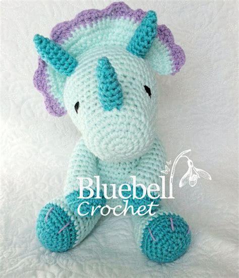 Handmade Dinosaur Crochet Hat Pattern - crochet dinosaur triceratops pattern by bluebellcrochet