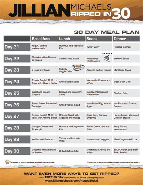 Detox Fitness Boot C Retreat by Jillian Ripped In 30 Meal Plan V Pdf Fit Food