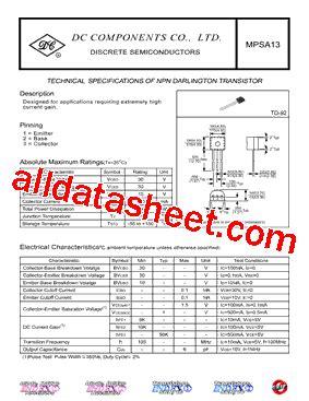 transistor mpsa13 datasheet mpsa13 datasheet pdf dc components