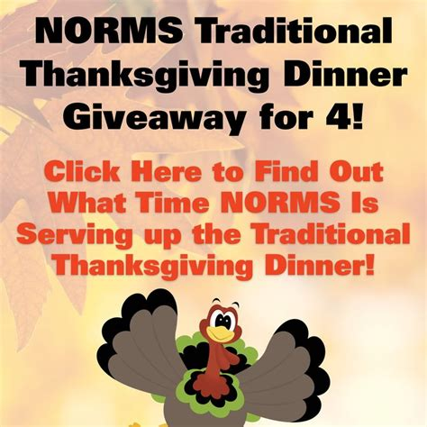 Turkey Dinner Giveaway - pin by norms restaurants on thanksgiving pinterest