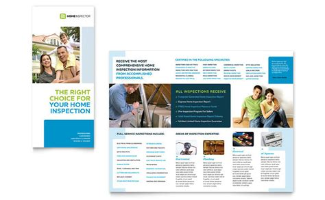 Home Inspection Inspector Tri Fold Brochure Template Design Home Staging Brochure Template