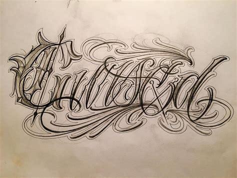tattoo letters sketch little sketch quot cursed quot elcarnicero letras letters