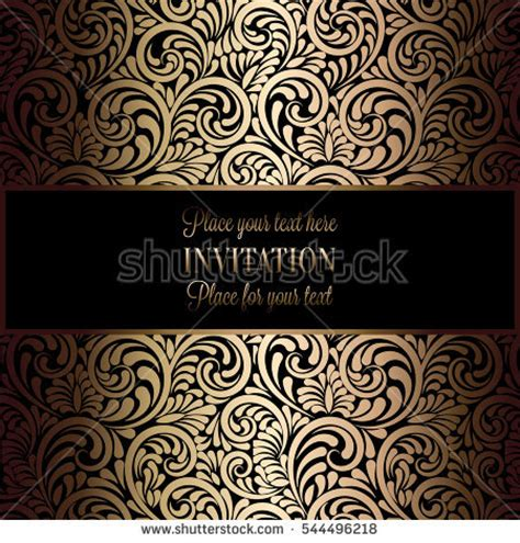 black and gold victorian wallpaper abstract background antique luxury black gold stock vector