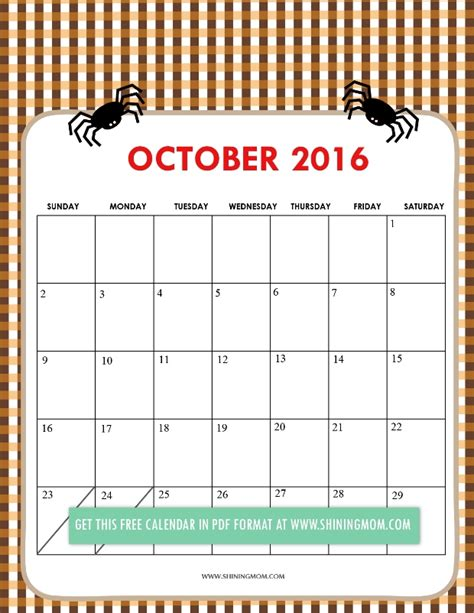 printable calendar 2016 kawaii october 2016 calendar cute yearly calendar printable