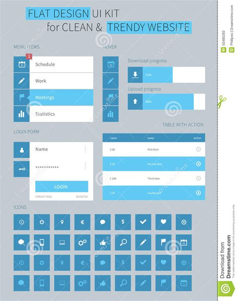 flat design ui elements flat ui kit design elements for webdesign stock vector