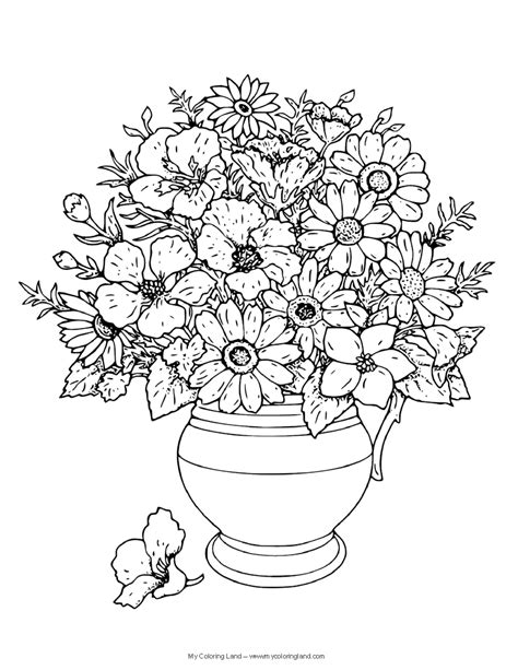 coloring pages of flowers in a vase flower my coloring land