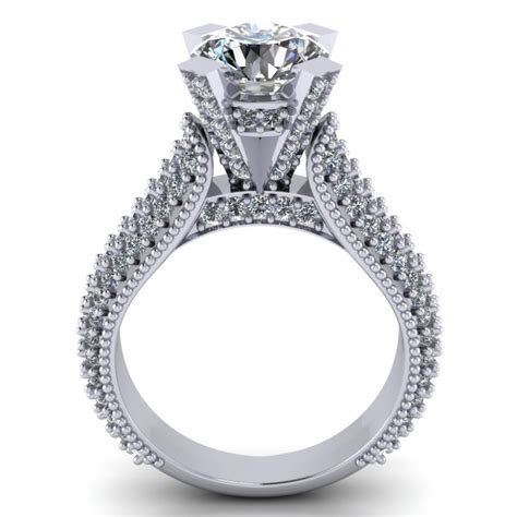 2 65 ct pave set round cut diamond engagement ring