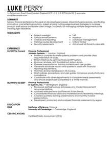 finance resume template finance resume exles finance resume sles livecareer