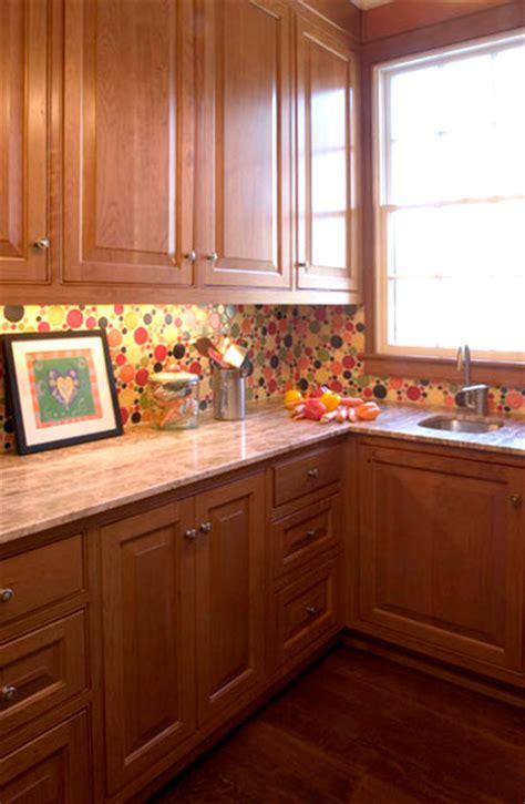multi size circle backsplash traditional kitchen