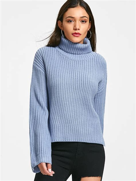Sweater Turtleneck 2018 turtleneck chunky tunic sweater blue one size in
