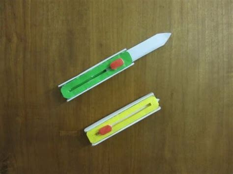 Origami Butterfly Knife - how to make a paper hitcher knife easy paper switch