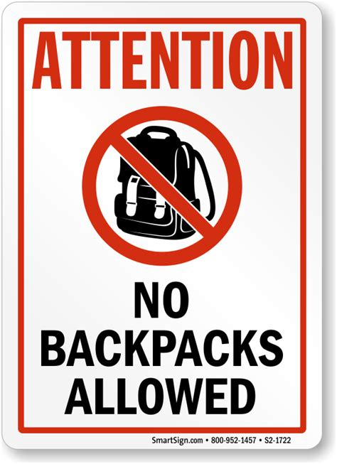 attention no backpacks allowed sign sku s2 1722