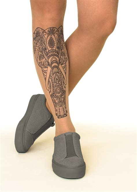 tattoo stockings indian elephant printed tights