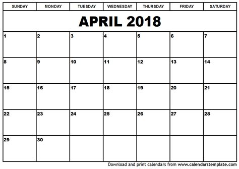 Free 2018 Calendar April 2018 Calendar Template Calendar Printable Free