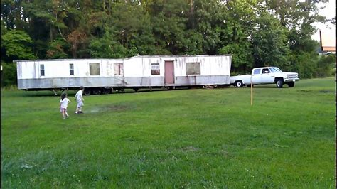 moving a modular home 3 4 ton truck moving a mobile home youtube