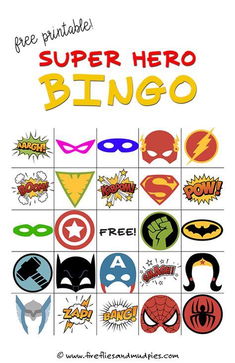 printable heroes free free printable super hero bingo party bingo games