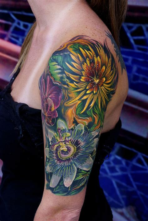 exotic flower tattoos 94 best quarter sleeve shoulder images on