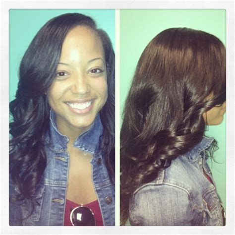 sew in hairstyles with side parts deep side part sew in protective style luxe lengths