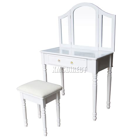 Makeup Table With Mirror And Chair Foxhunter Makeup Dressing Table Set With Stool Drawer Mirror Jewelry Desk Wood Ebay