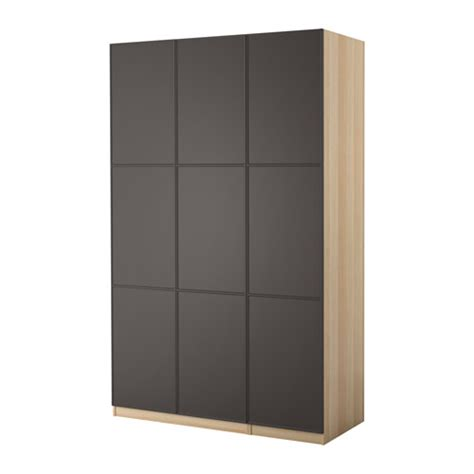 armoire pax pax wardrobe white stained oak effect mer 229 ker grey