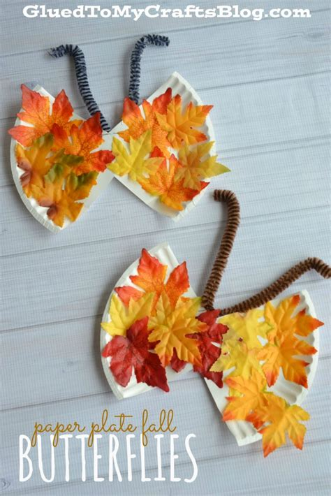 Fall Paper Plate Crafts - paper plate fall butterflies kid craft