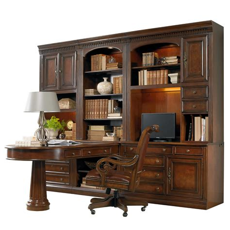 office furniture desk and credenza hooker furniture european renaissance ii office wall unit